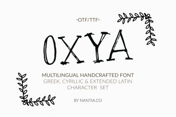 OXYA Cyrillic Greek Handcrafted Font