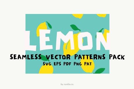 Lemon Seamless Vector Patterns Pack