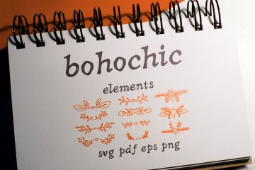 50 Boho-Chic Elements Vectors