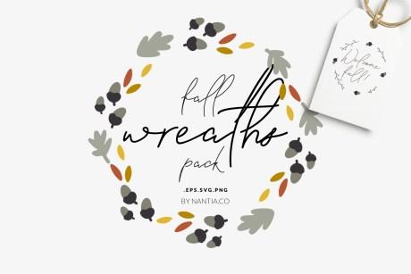 30 Fall Vector Wreaths Pack