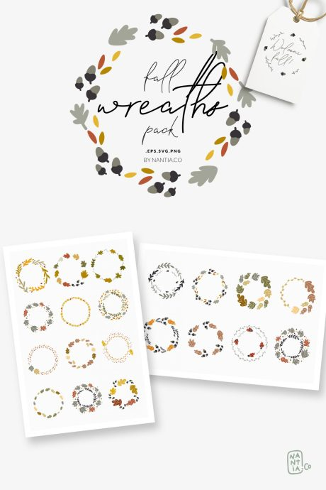 30 Fall Vector Wreaths Pack