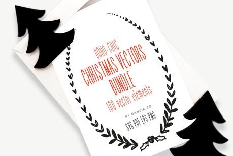 Boho-Chic Christmas Vectors Bundle