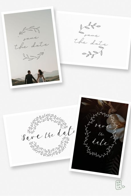 Save The Date Premade Wreath Logos