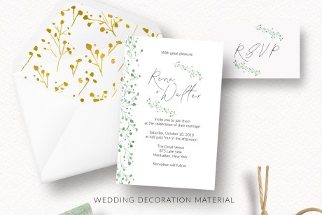 Emerald Gold Watercolor Wreaths