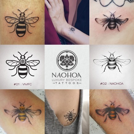 Manchester Bee tattoos in tribute to the terror attack in 2017. NAOHOA Luxury Bespoke Tattoos was the only studio in Cardiff to provide locals with Manchester Bee tattoos.
