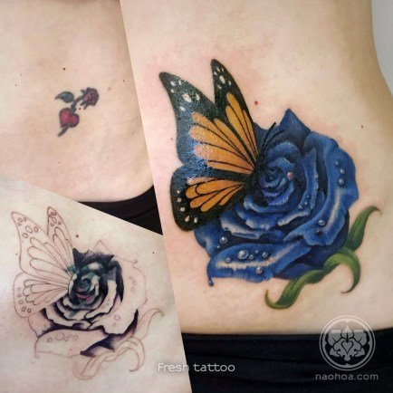 Blue Rose with Orange Butterfly
