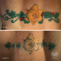 An old daffodil tattoo is revived with bold colours by Naomi Hoang.