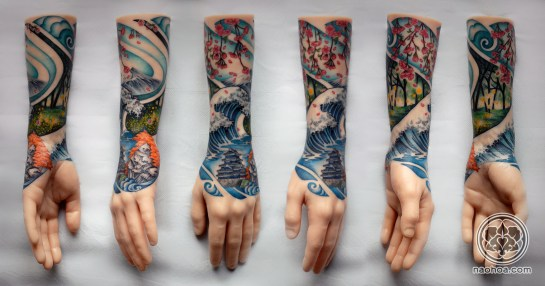 A colourful half-sleeve design by Naomi Hoang, which depicts the four seasons in the style of traditional Japanese woodblock art. NAOHOA Luxury Bespoke Tattoos, Cardiff, Wales, UK.