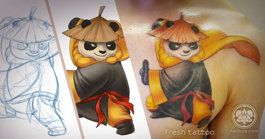 Custom-designed illustration of Po from Kung Fu Panda tattooed on a man's chest. Designed and tattooed by Naomi Hoang at NAOHOA Luxury Bespoke Tattoos, Cardiff (Wales, UK).