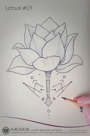 Georganic Lotus flower tattoo design by Naomi Hoang.