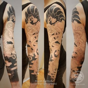 Photo of the Octopus Sleeve, designed by Naomi Hoang at NAOHOA Luxury Bespoke Tattoos, Cardiff (Wales, UK).