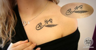 A rework of an existing tattoo to make the initials appear more obvious.