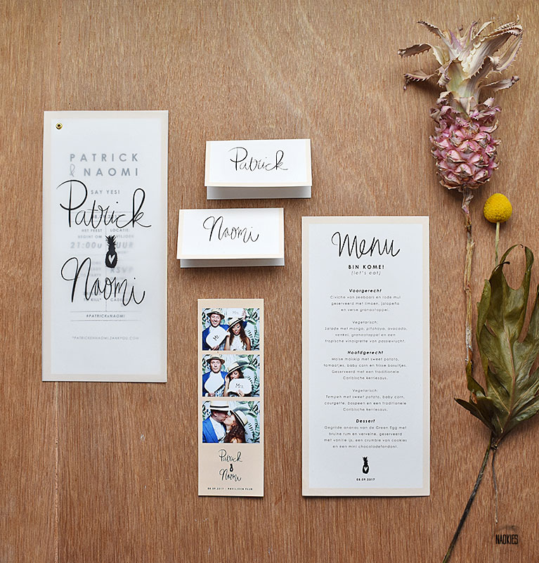 Wedding Stationery bruiloft tropical tropisch handlettering studio Naokies