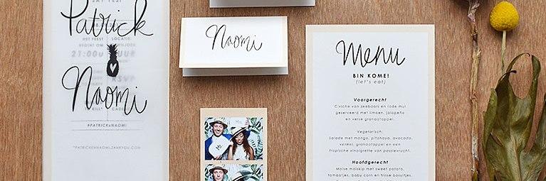 Wedding Stationery bruiloft tropical tropisch handlettering studio Naokies
