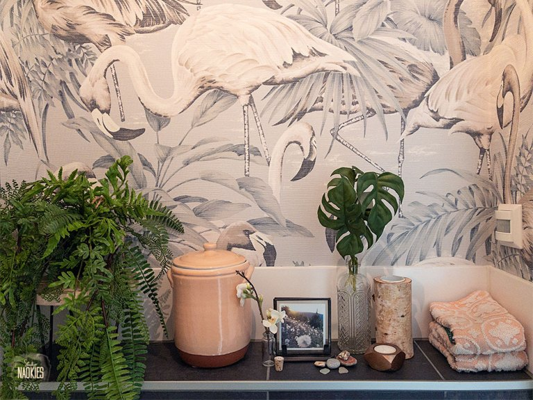 flamingo behang arte toilet makeover styling studio naokies