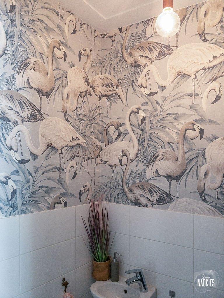 flamingo behang arte toilet makeover studio naokies