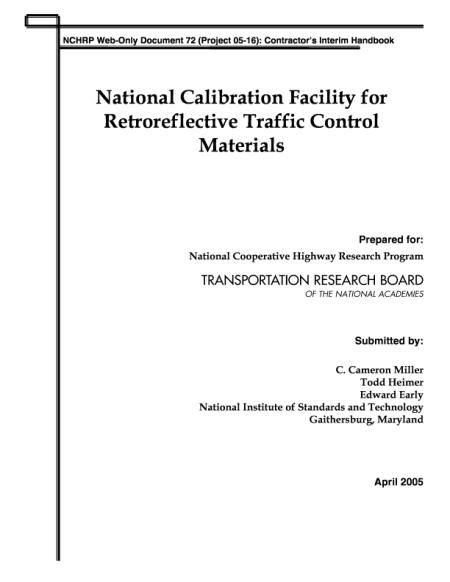 National Calibration Facility for Retroreflective Traffic ...