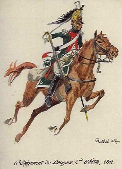 Le 5e régiment de dragons, régiment délite. Knötel