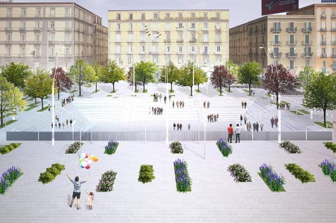 Vista dei giardini con il bosco urbano