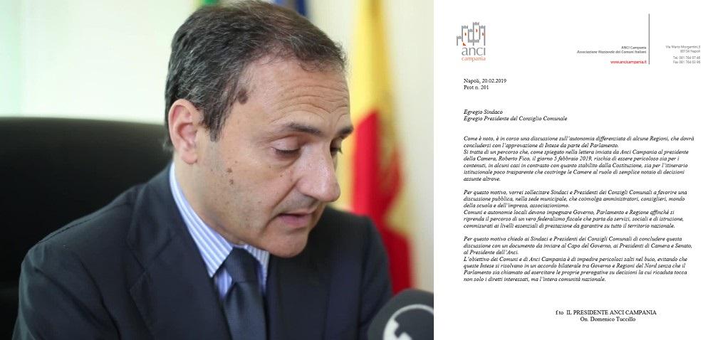 Tuccillo, Presidente Anci Campania, scrive ai sindaci: AUTONOMIA DIFFERENZIATA, CARI SINDACI FACCIAMOCI SENTIRE!!