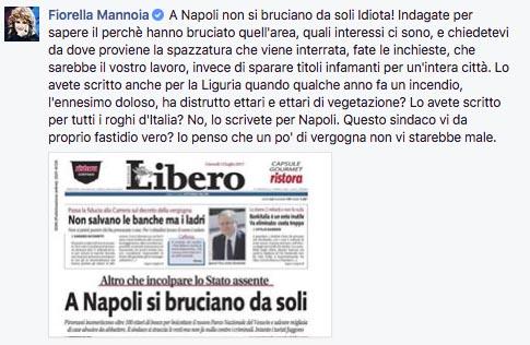 """Fiorella Mannoia: """"Maledetti! Napoli non ve la meritate!"""""""