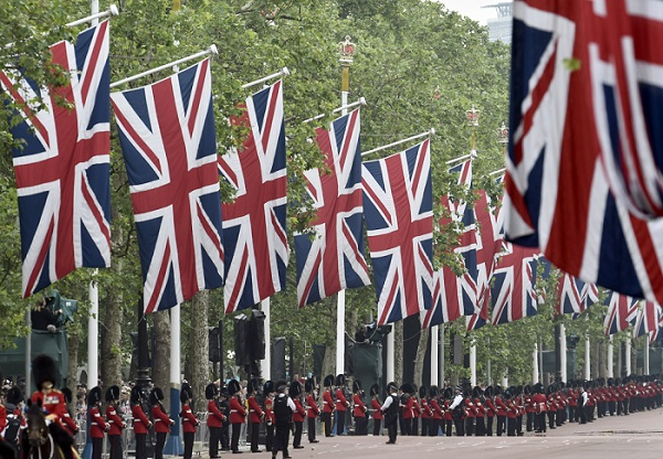 Guardsmen line the Mall for the annual Trooping the Colour ceremony in central London