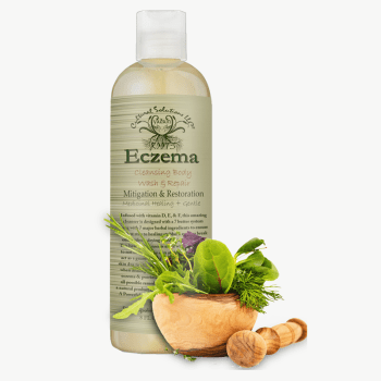 Eczema Mitigation Body Cleanser is an amazing concoction of Vitamin F, E & D. Fortified with 7 herbs that will help heal and seal eczema breakouts when they occur. Eczema abrasions can be painful and irritable, using this restoration wash can reduce skin tears and restore elasticity, while toning skin to its rightful complexion. Daily use of this product can upgrade skin quality and manifest complete healing results the natural way. This mitigating potion is hard against eczema but still gentle enough for babies and safe for all skin types. Eczema Mitigation & Reparation Body Cleanser & Seal