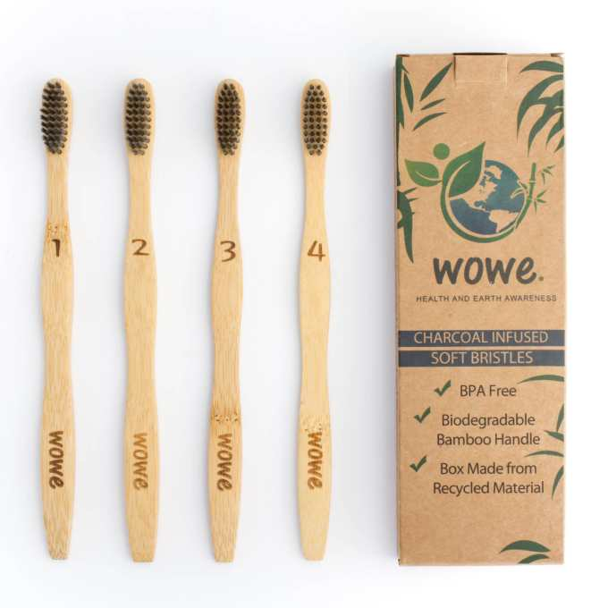 Charcoal Infused Bristle Bamboo Toothbrush single
