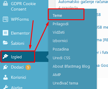 instaliranje teme za WordPress