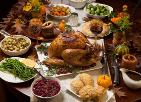 Thanksgiving dinner on a table