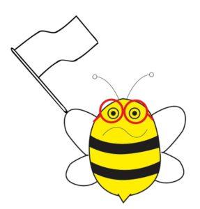 La abeja bini bandera blanca