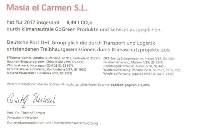 Certificado de Co2 Masia el Carmen SL