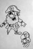 Boceto Pirata y guacamayo El Tesoro Encantado