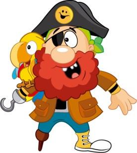 Pirata y guacamayo El Tesoro Encantado con pose neutral