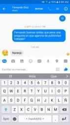 Chat de suplantación a nombre de NARANJO PUBLICIDAD.