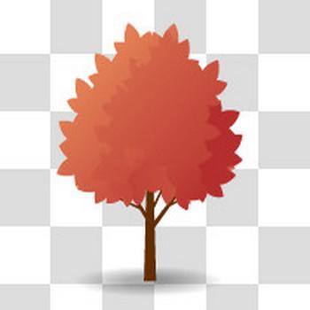 紅葉した広葉樹のフリーイラスト素材