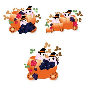 花通信イラスト素材 ハロウィン/かぼちゃの馬車