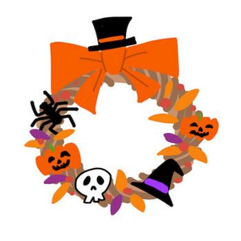 お化けかぼちゃのハロウィンリースイラスト秋のお祭りイベント | 素材屋きんぎょ