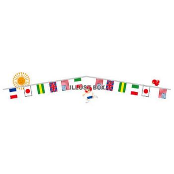 無料イラスト 運動会の万国旗とかけっことお日様のラインPNG