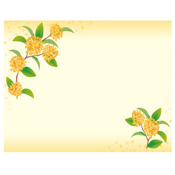 [フリーイラスト] キンモクセイの花の飾り枠でアハ体験 - GAHAG | 著作権フリー写真・イラスト素材集
