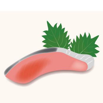 鮭(サケ・シャケ)の切身のイラスト 【魚】   商用フリー(無料)のイラスト素材なら「イラストマンション」