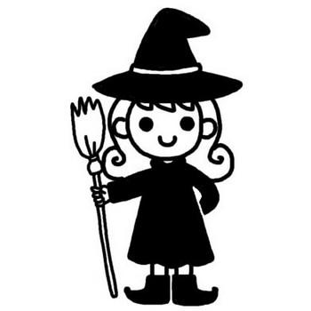 ウィッチ/ハロウィン/秋のイラスト/無料【白黒イラスト素材】