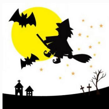 ハロウィンの魔女と月 | イラスト素材パラダイス 商用利用無料のイラスト素材