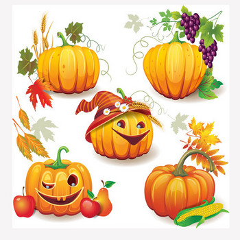 Funny Autumn pumpkins vector graphic 02 free download
