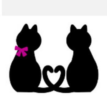 » 黒猫、白猫カップルシルエットイラスト / 尻尾でハート | 可愛い無料イラスト素材集