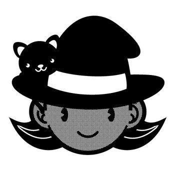 魔女の顔と黒猫イラスト(モノクロ)|かわいいフリー素材、無料イラスト|素材のプチッチ