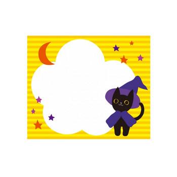 ハロウィン・黒猫と月と星のフレーム飾り枠イラスト | 無料イラスト かわいいフリー素材集 フレームぽけっと