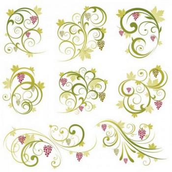 さわやかなフルーツ(葡萄)の飾り枠・飾り罫・コーナーSET(Ai) - Free-Style