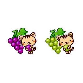 ブドウを持つネコちゃんイラスト(季節の動物)|フリー素材|素材のプチッチ