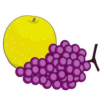 イラストポップの季節の素材 | 春夏秋冬の行事や風物のイラスト10月2-No15梨とブドウの無料ダウンロードページ